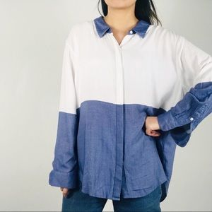 Two by Vince Camuto shirt color block button down